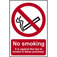 Scan No Smoking It Is Against The Law To Smoke On These Premises Sign