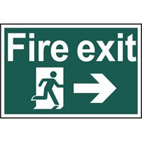 Scan Fire Exit Running Man Arrow Right Sign