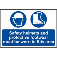 Scan Safety Helmets and Protective Footwear Must Be Worn In This Area Sign