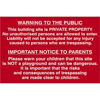Scan Building Site Warning To Public and Parents Sign