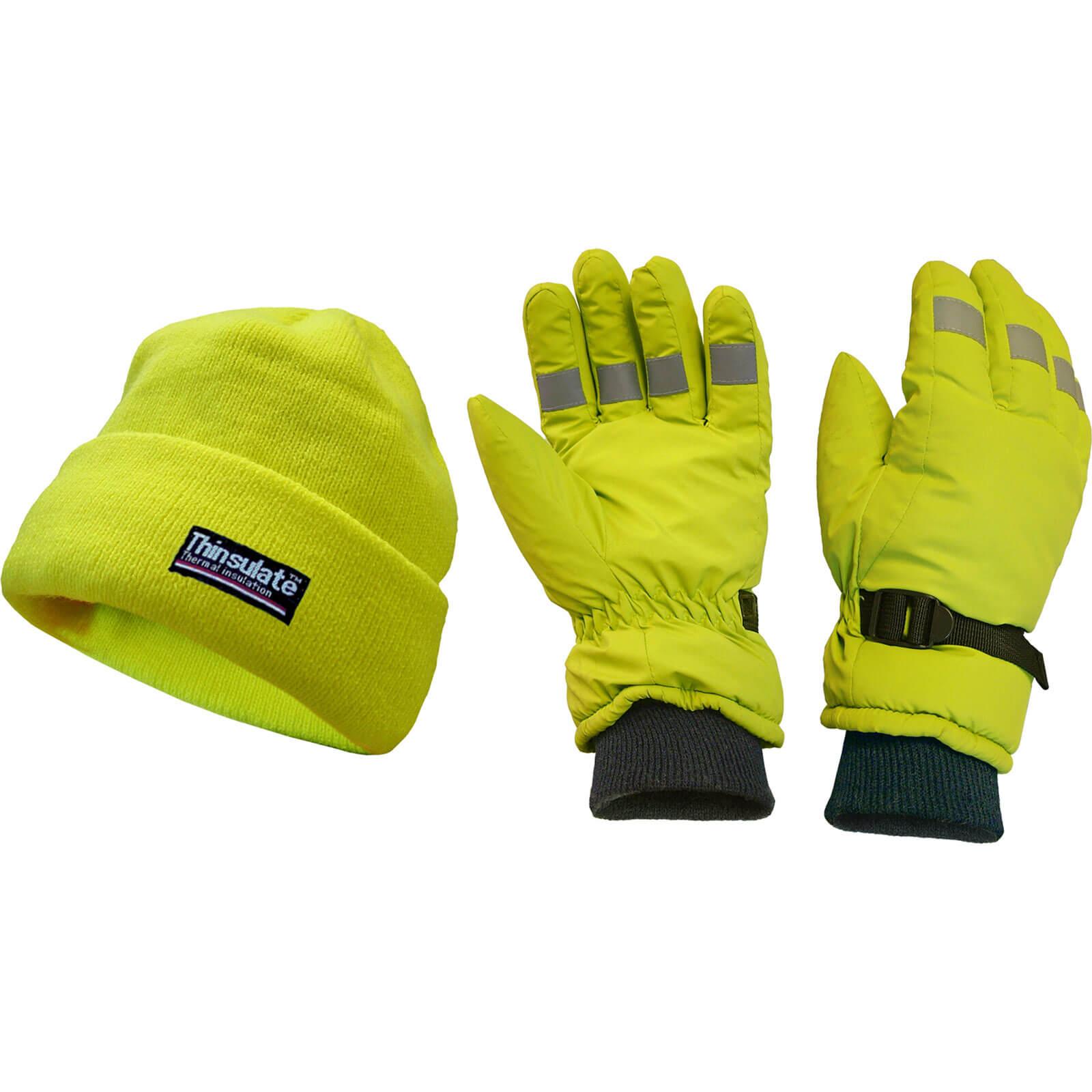 Scan Hi Vis Beanie Hat & Gloves Set Yellow One Size