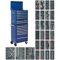 Sealey Superline Pro 14 Drawer Roller Cabinet, Mid and Top Tool Chests + 1179 Piece Tool Kit