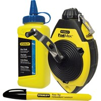 Stanley Fat Max Chalk Line Reel, Chalk Refill and Marker Pen