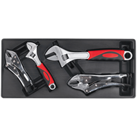 Sealey 4 Piece Locking Plier and Adjustable Spanner Set in Module Tray