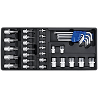 Sealey 35 Piece Torx Key, Socket Bit and Combination Drive Socket Set in Module Tray