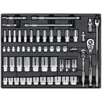 Sealey 55 Piece Combination Drive Socket Set in Module Tray