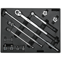 Sealey 13 Piece Ratchet, Torque Wrench, Breaker Bar and Socket Adaptor Set in Module Tray
