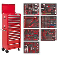 Sealey Superline Pro 14 Drawer Roller Cabinet, Mid and Top Tool Chests + 446 Piece Tool Kit