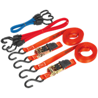 Sealey 6 Piece Tie Down Ratchet and Bungee Cord Set
