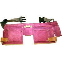 Ladies Tool Belt and Double Pink Leather Tool Pouch
