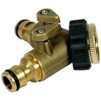 Sirius Brass 2 Way Threaded Tap Hose Pipe Connector