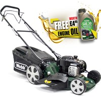 Webb WER18HW Self Propelled Petrol 3 in 1 Rotary Lawnmower 460mm FREE Engine Oil Worth £4.95
