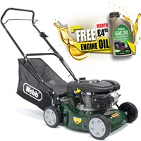 Webb WER41HP Push Petrol Rotary Lawnmower 400mm FREE Engine Oil Worth £4.95