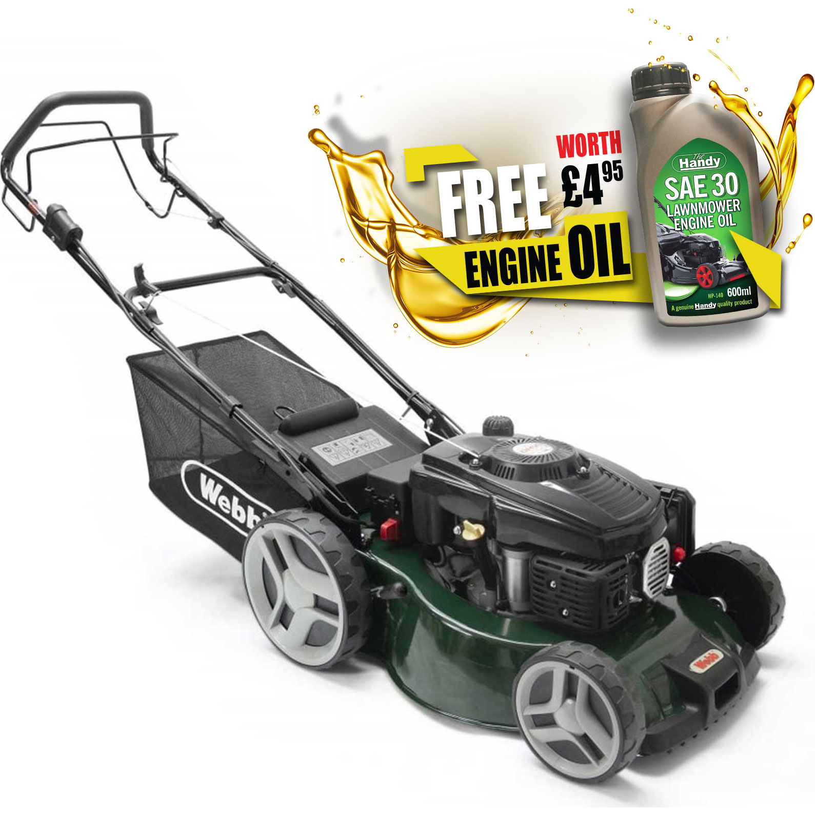 Image of Webb WER460SPES Classic Petrol Self Propelled Rotary Lawnmower 460mm FREE Engine Oil Worth £4.95