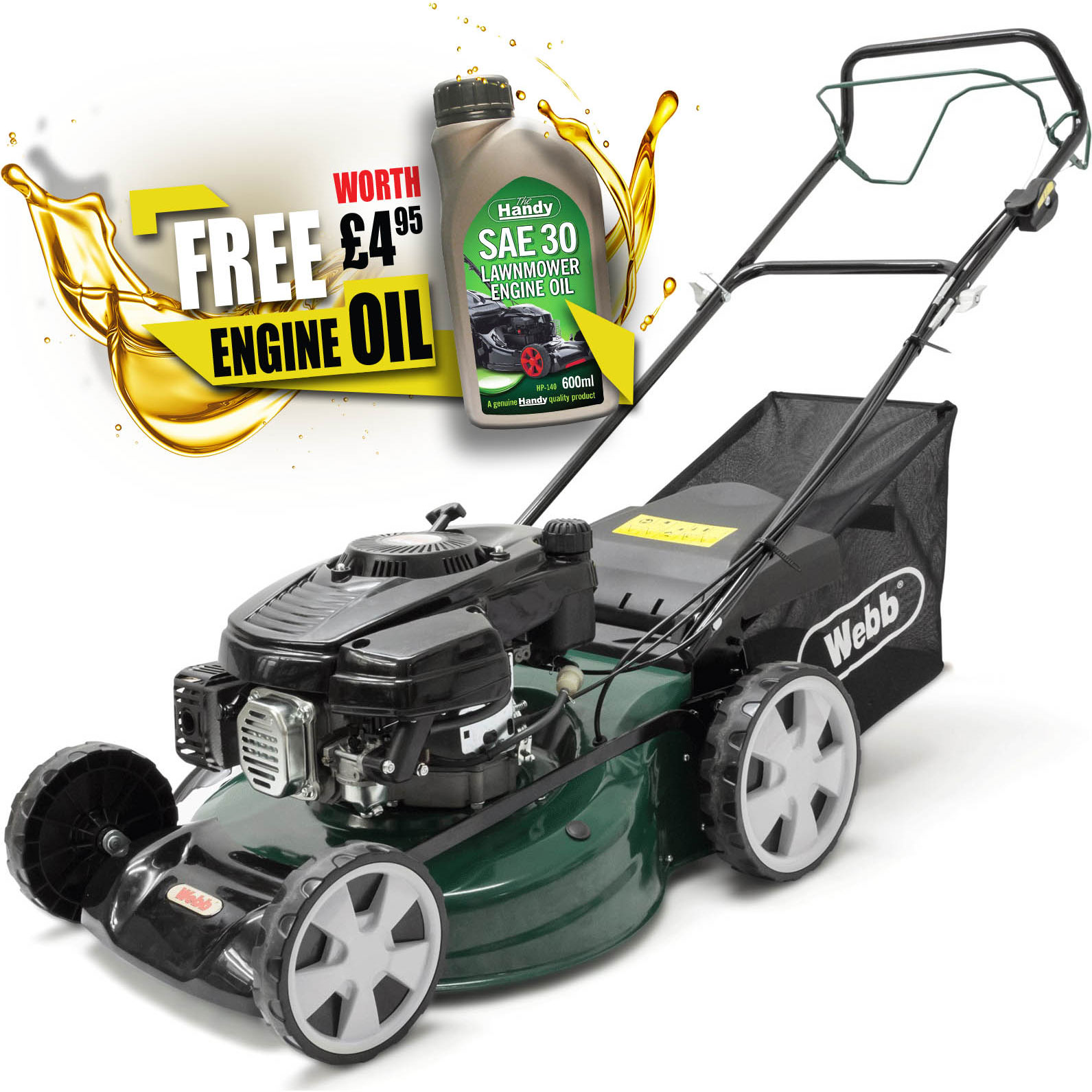 Image of Webb WER51SP Classic Self Propelled Petrol Rotary Lawnmower 510mm FREE Engine Oil Worth £4.95
