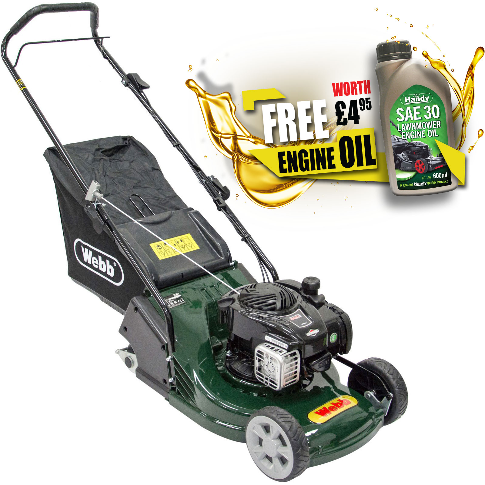 Webb WERR17P Push Petrol Rotary Lawnmower 425mm FREE Engine Oil Worth £4.95