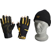 Kunys Pro-Tradesman Fingerless Gloves & Beanie Hat