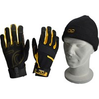 Kunys Flexible Construction Gloves & Beanie Hat