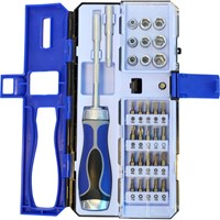 Faithfull Ratchet Bit Holder Screwdriver and 29 Piece Socket and Bit Set