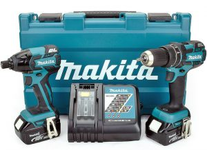 The Makita DLX2002M kit consists of a brushless combi drill & impact driver with a fast charger and two 4.0ah batteries