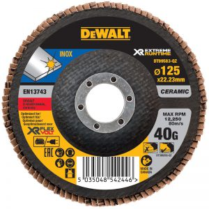 A DeWalt Extreme Runtime flap disc, designed for optimum results with Flexvolt cordless grinders