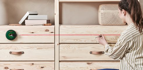 Using the Bosch ATINO Laser Tape Measure for installing Cabinet Handles
