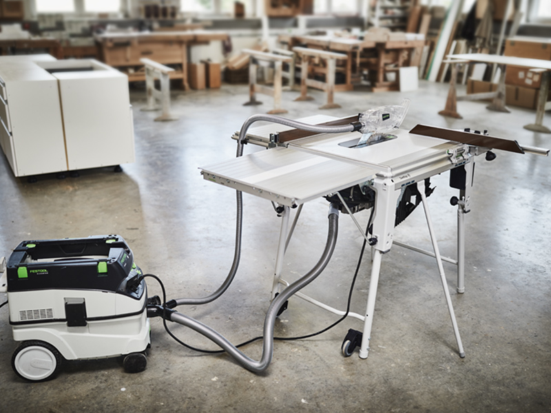 The TKS 80 Hooked Up to one of Festool's Dust Extractors